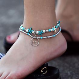 pendentif pieds d'argent Promotion Bracelets de cheville de mode féminine conque étoile de mer mi zhu plaqué argent chaîne de pied perlée yoga plage double couche bracelets de cheville gros