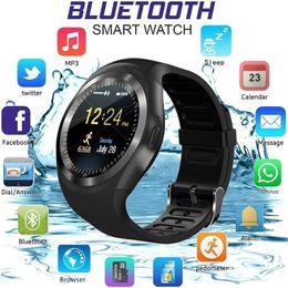 Assento de telefone de relógio inteligente de Bluetooth impermeável para ios de android iphone Samsung LG Assista de telefone de relógio sim de Bluetooth inteligente cartão redondas de toque de