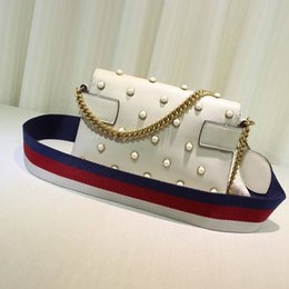 Wholesale Small Black Beads - Free Shipping !Hight Quality Fashion 25cm Pearl Genuine Leather Handbag Women Shoulder Bag 2 strap 453778