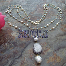 "Wholesale Keshi Pearl White - 30"" 2 Strands Crystal Pearl Necklace White Quartz Keshi Pearl Pendant"