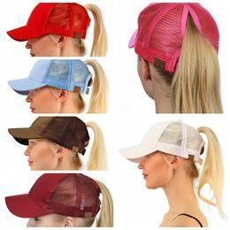 Wholesale Yellow Cap - CC Ponytail Cap Messy Bun Women Ponytail Caps Cap Fashion Girl Basketball Hats Back Hole Pony Tail KKA4383