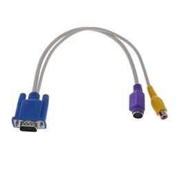 2018 adaptador pc rca PC 15 Pin VGA Macho a TV S-Video / RCA Hembra AV OUT Cable Adaptador Amarillo Púrpura adaptador pc rca baratos