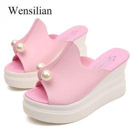 2019 cuneo perlaceo nero Pantofole Donna Summer Ladies Slides Platform Wedge Shoes Sandali Sexy Perline String Beads Scarpe da spiaggia Black Pink Zapatos Mujer cuneo perlaceo nero economici