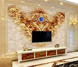 Custom Retail 3D European And American Classical Pattern Marble Interior TV Background Wall Decoration Mural