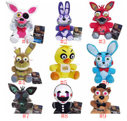 bebê mario bros brinquedos de pelúcia Desconto 4 FNAF brinquedos de pelúcia 18 centímetros de Ouro Freddy foxy Bonnie Chica Macio Stuffed Dolls Toy presente para crianças de cinco noites no Freddy
