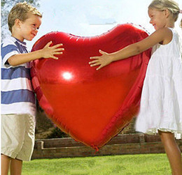 Wholesale Red Heart Balloons - Large Size 75cm 30inch heart shap foil air balloons wedding party love decorations marriage ballon supplies, Red Pink Gold Silver balloon