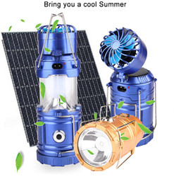 Wholesale Solar Camping Fans - Camping Light Solar Rechargeable Outdoor Fan Multi-function LED Camping Light Portable Emergency Hand Tent Lamp Flashlight
