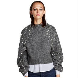 Wholesale Gray Pearl Loose - New Pearl Beaded Lantern Sleeve Loose Wool Sweater Jumpers Vintage Gray Short Warm Women Sweaters and Pullovers High Quality AT119