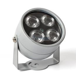 2019 iluminador led camara 4 IR LED Iluminador de infrarrojos Luz de visión nocturna por infrarrojos para cámaras de seguridad CCTV Iluminación de relleno Metal Gris Cúpula a prueba de agua iluminador led camara baratos