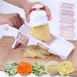 Wholesale Potato Peeler Blades - Multifunctional Slicer Mandoline Vegetable Slicer Cutter 6 interchangeable Blades Stainless Blade Manual Potato Peeler Tools CCA8738 20pcs