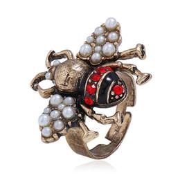2019 gold ringe besten design Luxus Dreidimensionale Persönlichkeit Insekt Einstellbare Ring Cute Bee Eröffnung Legierung Perle Kristall Ring Mode Temperament Frauen Schmuck