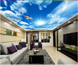 Wholesale simple ceiling for bedroom - 3d wallpaper custom photo 3d ceiling mural wallpaper Simple blue sky white clouds seagull ceiling 3d wall room murals wallpaper home decor