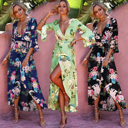 Wholesale linen summer sundresses - Women Flare Sleeve Bohemia Boho Maxi Dress Beach Printing Long Dress Floral Party Casual Cocktail Sundress LJJO4217