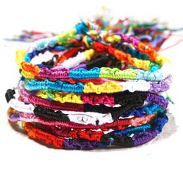 Tessuto arcobaleno online-Braccialetto di amicizia Nepalese vento nazionale fatto a mano arcobaleno braccialetto mano fortunato corda tessuto braccialetti regalo gioielli 10 pz / pacco DHL libero H681F
