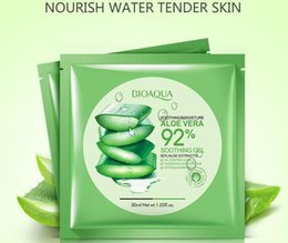 Wholesale wholesale gel face mask - BIOAQUA Natural Aloe Vera Gel Face Mask Moisturizing Oil Control Wrapped Mask Shrink Pores Facial Mask Cosmetic Skin Care