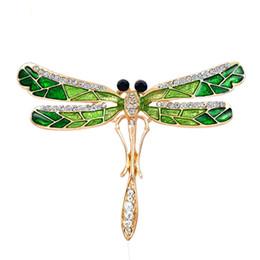 Billige grüne broschen online-Top Qualität Günstige Whosale Preis Atemberaubende Libelle Brosche Grün Emailled Sparkling Kristallen Schnalle Pin Mode Schal Pin