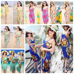 Wholesale girls beach cover - Women Sunflower Bikini Cover Up Chiffon Travel Beach Dress Bikini Swimwear Sarong Sunscreen Beach dress KKA4085