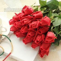 decorações de flores frescas Desconto Fresco Rosa Flores De Seda Artificial Real Toque Subiu Flores Casa Decorações para Festa de Casamento ou Aniversário