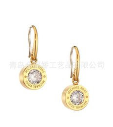 Wholesale Stud Earings Heart - 2018 New York Fashion Brand drop earrings Crystal hoop earings brand Jewelry wedding jewellery for women girls Silver Gold Rose