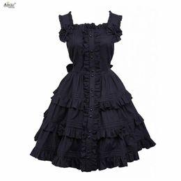 Costumi bellissimi delle ragazze online-Gothic Lolita Dress Cotton Black Sleeveless Costumi Cosplay Beautiful Girls Lolita Dress Ainclu XS-XXL / Personalizzazione supporto