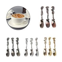 Wholesale Flatware Forks - Elegant 3pcs set Vintage Royal Style Flatware Alloy Carved Coffee Tea Spoons Forks Fruit Prikkers Dessert Ice-cream Scoop