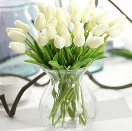 Wholesale artificial white tulips - 31pcs lot Tulips Artificial Flowers PU artificial bouquet Real touch flowers For Home Wedding decorative flowers & wreaths