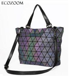 b589da72347f Matte Women Laser Geometry Bag Sequins Mirror Saser Plaid Folding Shoulder  Bags Luminous Handbag Diamond Casual Tote Bucket Bag Y18102004