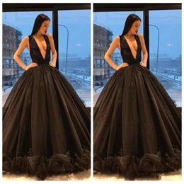 Wholesale Peplum Skirts Dresses - 2018 Middle East Dubai Abaya Ball Gown Sexy Plunging V Neck Black Prom Dresses Sleeveless Ruffles Button Skirts Princess Evening Gowns