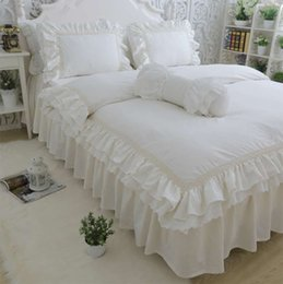 Wholesale Ruffle Pillow Case - Ruffle fairyfair solid bedding sets girl,cotton twin full queen king,single double bedclothes pillow cases quilt cover bed skirt