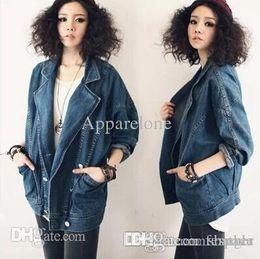 764cbcdefa360 Wholesale-S-XXL Vintage 2015 Lady jeans jackets plus size long Batwing  sleeve Turn Down Collar short Cardigan denim jacket For Women