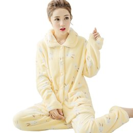Wholesale Women S Long Sleeve Nightgowns - Autumn Brand Winter Women Pajamas Coral Cashmere Sweet Lovely Long Sleeved Cardigan Flannel Home Suits Pyjamas Femme Sleepwear