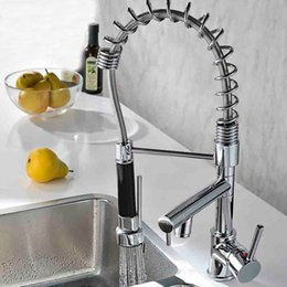 Wholesale pull out kitchen faucets - European Style Double Water Spout Kitchen Sink Faucet Single Handle Hot and Cold Pull Down Spring Kitchen Mixer Cranes Pull Out