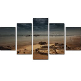 Wholesale Pictured Rocks - MingTing - 5 Panel Canvas Wall Art Rock And Sea Landspace Poster Painting Modern Home Decor For Living Room Study Room No Frame