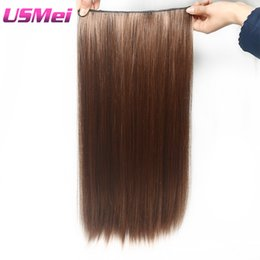 Wholesale multi color hair extensions - USMEI 60CM Full head Clip in Hair Extensions Multi-color brown false Synthetic Hairpieces 2-30# Straight 5 clips PCS