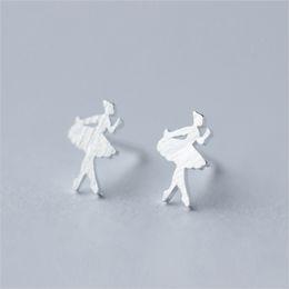 Trusta 100% 925 mujeres de plata esterlina moda lindo pequeño bailarín de ballet Stud pendientes regalo para las niñas de la escuela regalo DS38 desde fabricantes