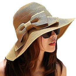 Wholesale Wide Brimmed Cooling Hats - Cool Fashion Cap Floppy Wide Brimmed Summer Beach Bow Hat Women s Straw Sun Hat