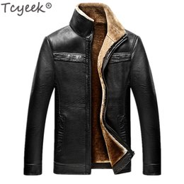 Wholesale Jaqueta Couro Masculino - Tcyeek 2017 Casual Winter PU Leather Jacket Men Warm Outerwear Jaqueta Masculino Couro M-4XL Black Chaqueta Cuero Hombre CJ225