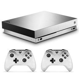Xbox one controller vinil on-line-Ouro Prata Azul Preto Cinza Galvanizado Adesivo De Pele De Vinil Fosco para Xbox One X Console e 2 Controlador