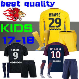 Wholesale Polyester Long Sleeve Shirts - kids child Football Shirt survetement verratti Black third cavani maillot de foot 17 18 boys Mbappe Draxler NEYMAR JR JERSEY Long sleeves