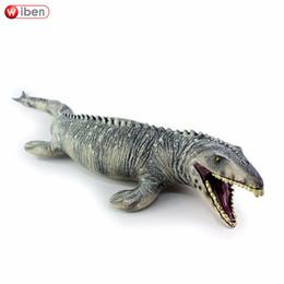 Wholesale Dinosaur Paint - Jurassic Big Mosasaurus Dinosaur Toy Soft Pvc Action Figure Hand Painted Animal Model Collection Dinosaur Toys For Children Gift