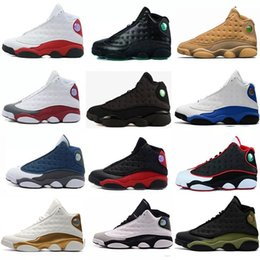 Wholesale Purple Athletic Shoes - Wholesale 2018 high quality shoes 13 men Basketball Shoes Bred Navy Game hologram grey toe Flint Grey 13s Athletics Sports Sneakers Boots