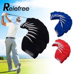 Cobertura de cabeça de clube de golfe conjuntos on-line-Relefree 10 Pcs Neoprene Golf Club Ferro Headcovers Protective Head Cover Protector Set