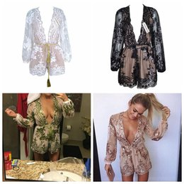 Wholesale jumpsuit vintage wholesale - Deep V Neck Lace Sequin Jumpsuit Sexy Women Embroidery Long Sleeve Gold Playsuit Vintage Mesh Romper Overall Party Clothes LJJO4527