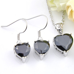 Wholesale black onyx heart necklace - New Fashion Heart 5 Set Lot Wholesale Black Onyx Crystal Zircon Gems 925 Silver Chain Necklaces Pendant Earrings Wedding Jewelry Sets