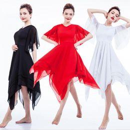 2019 catena di danza del ventre rosso Donne Eleganti Liriche Moderne Costumi di danza Vestito da balletto Ragazze Abiti da ballo per adulti contemporanei Praticare Abiti di abbigliamento Outfit