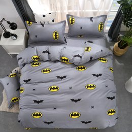 king single sheets Coupons - Cartoon Batman Duvet Cover Grey Bedding Set Kids Bedding Single Double Queen King Size Bed Sheets Bedclothes 4PCS Bedclothes
