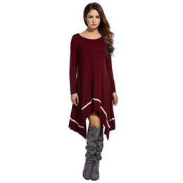 Туника онлайн-Новинка Мода женщин вскользь с длинным рукавом Loose нерегулярные кружева Hem туника платье