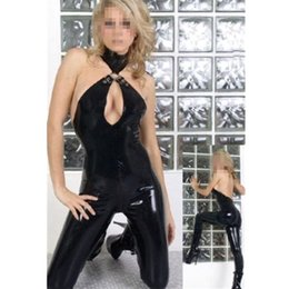 Wholesale Leather Fetish Clothing - Abbille Sexy Black Catwomen Jumpsuit PVC Catsuit Costumes For Dance Women Body Suits Fetish Leather DS Game clothes 2017