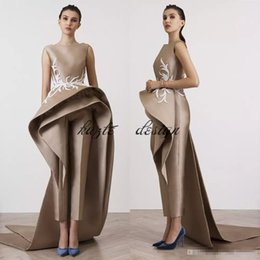 Wholesale Club Wear Jumpsuits - 2018 New Fashion Krikor Jabotian Jumpsuits Prom Dresses Bateau Sheath Formal Evening Gown With Peplums Custom Made Prom Party Dress
