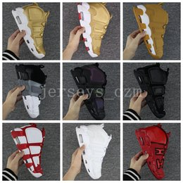 Wholesale Chi Flat - 2018 Air More Uptempo SUPTEMPO Basketball Shoes Varsity Maroon 3M Scottie Pippen Basket Ball Boots Red Black CHI Brand Designer Sneakers